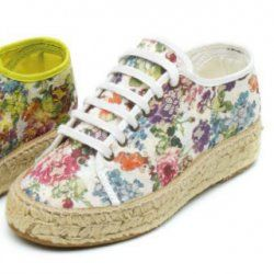 Espadrillas fiori in cotone bio e juta