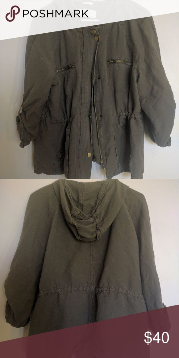 Olive Green Military Jacket A utility jacket with lots of pockets, a waist tie, and 3/4 sleeves from Nordstrom. Only worn twice. Nordstrom Jackets & Coats Utility Jackets