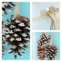 Epsom Salt Snowy Pine Cones with Burlap. Very Clever!