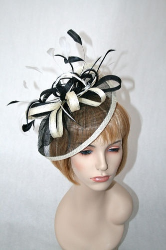 NEW Church Kentucky Derby Fascinator Black White Tan Feathers Headband Hat   b2b07c40c8ba
