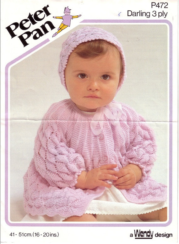 Peter Pan Baby Knitting Patterns : Vintage PDF Baby Knitting Pattern - Peter Pan P472 - matinee jacket bonnet In...