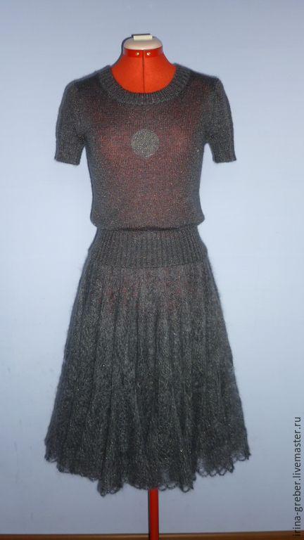 """Купить Костюм вязаный """"Золотая искра"""" - темно-серый, Костюм вязаный, юбка вязаная"""