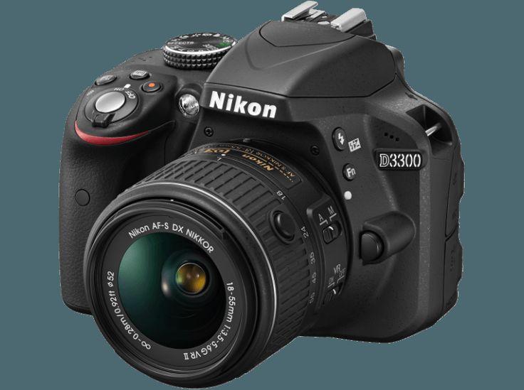 NIKON D3300 Spiegelreflexkamera, 24.2 Megapixel, 3x opt. Zoom, CMOS Sensor, Externer Blitzschuh, 18-55 mm Objektiv, Schwarz