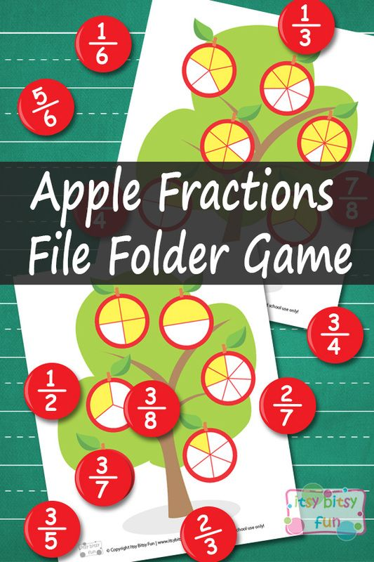 Apple Fractions Math File Folder Game - Learning Games For Kids