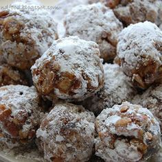 DATE BALLS:  1 stick butter 3/4 c. sugar 1 (8 oz.) chopped dates  1 c. pecans, chopped 1 c. Rice Krispies  1 tsp. vanilla  In saucepan, melt butter and sugar over low heat. Add dates and cook 3 minutes and remove from heat. Add nuts, Rice Krispies and vanilla. When cool enough to handle, form small balls and roll in powdered sugar or coconut.
