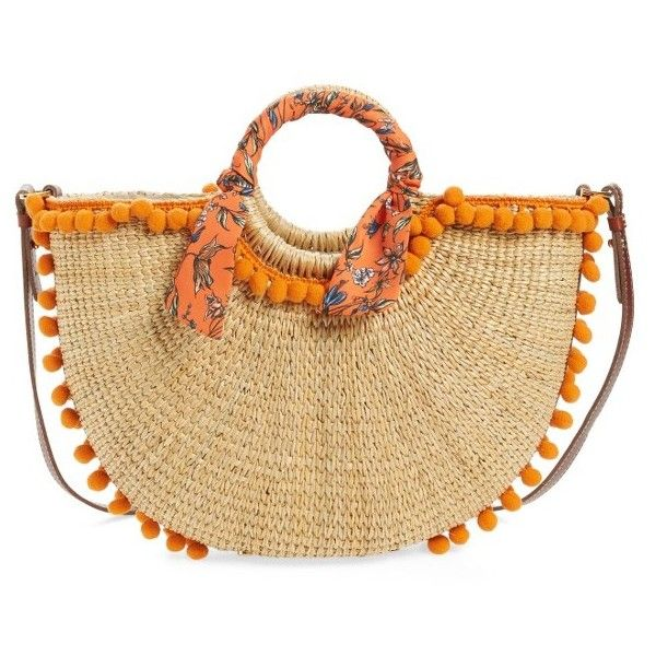 Women's Sam Edelman Sierra Straw Tote ($198) ❤ liked on Polyvore featuring bags, handbags, tote bags, orange, summer totes, summer straw handbags, orange tote bag, orange tote and handbags totes