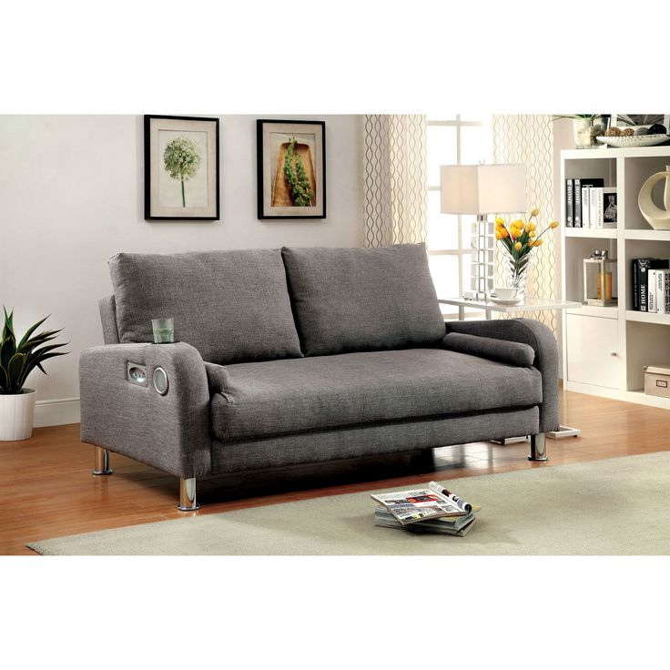 Furniture Of America Parso Modern Grey Futon Sofa With Bluetooth Speakers Grey Size Queen