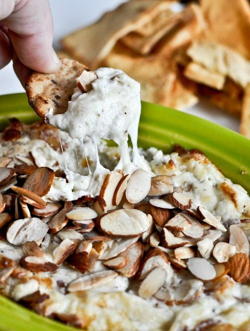 Toasted Almond Parmesan Dip - a perfect holiday appetizer! | How Sweet It Is