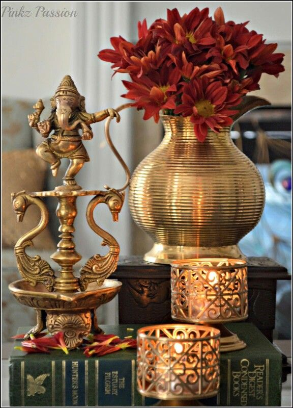 Brass diya with lord ganesha