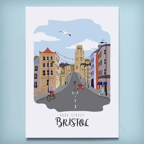 Bristol art print bristol illustration bristol gift ideas park street city print home decor wall art british decor artwork a4 a3