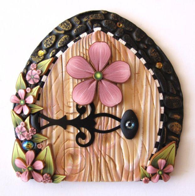 Polymer clay fairy door by claybykim-Etsy