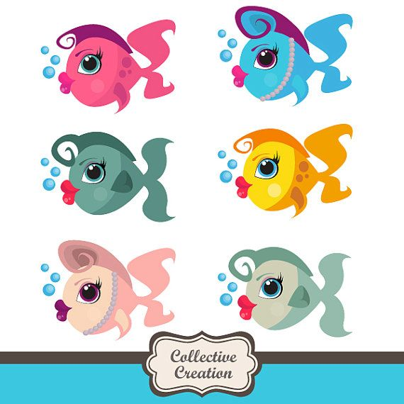 Cartoon Lady Fish Clipart - Ideal for Scrapbooking, Cardmaking and Paper Crafts on Etsy, $4.00