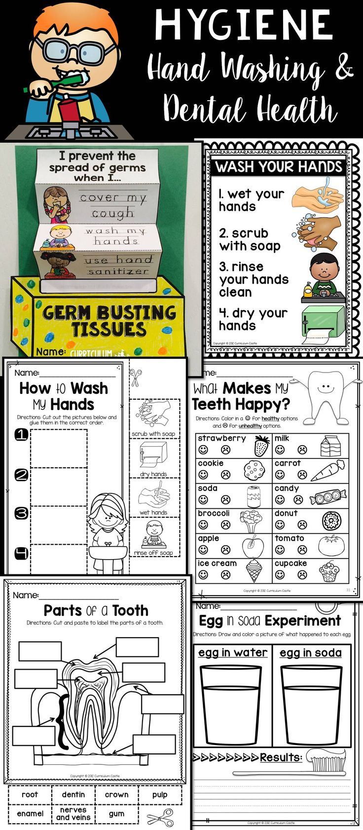 Hygiene and Healthy Habits: Pre-K-1st grade activities that focus on hand washing and dental health!