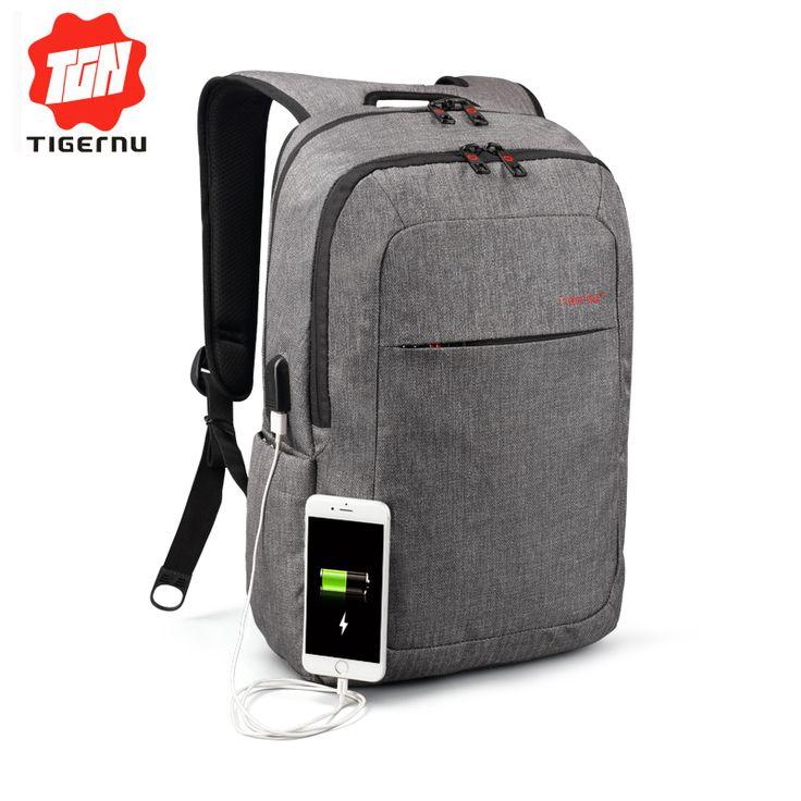 2017 Tigernu Brand External USB Charge Backpack Male Mochila Escolar Laptop Backpack men women School Bags  Backpack for teens