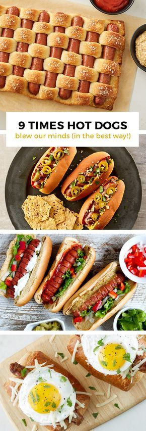 Pretzel woven hot dogs, chili-cheese dog crescent rings and hasselback hot…
