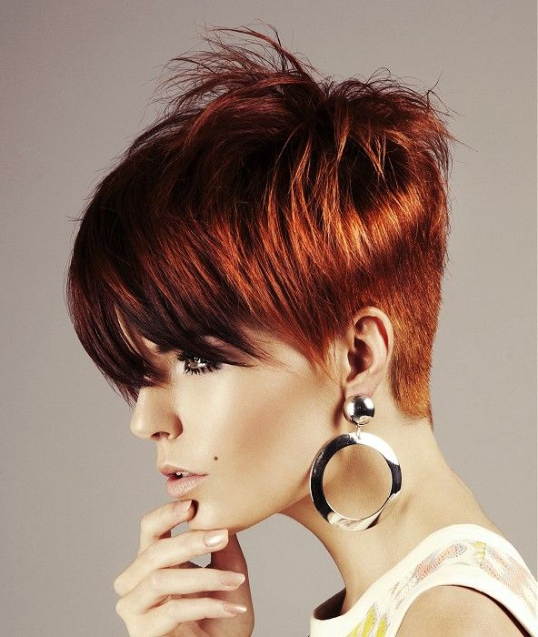 Short Red straight coloured multi-tonal spikey Belgian Womens haircut hairstyles for women