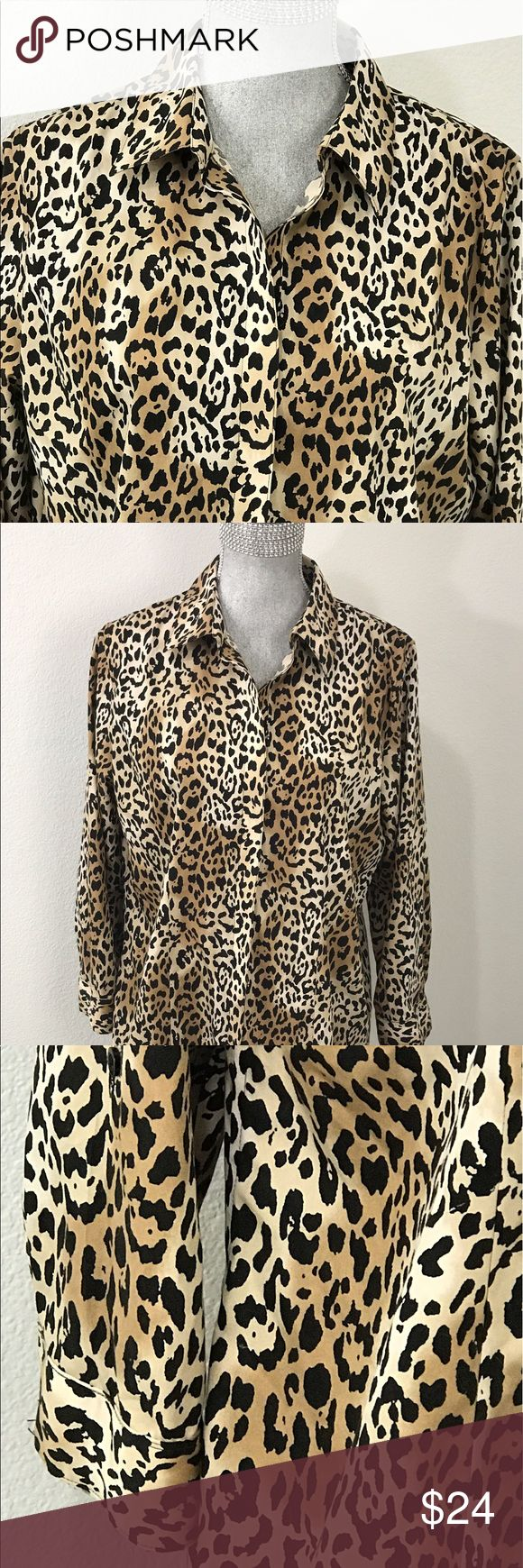 Cheetah Print Shirt Blouse Top by Chico's Size 2 Pulse Size animal print shirt. Cheetah pattern size 2 long button cuff sleeves. Great pre-loved condition. No noted flaws. Chico's Tops Button Down Shirts