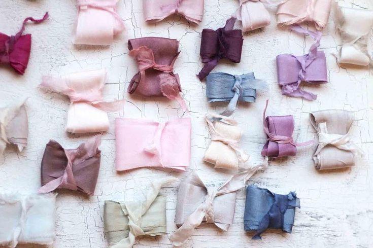 Hand-dyed silk ribbons #silkribbon #handdyedsilk #naturaldye #handdyedsilkribbon