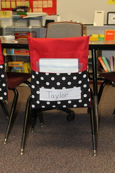 Student chair covers with pockets. $10 each or add nametag holder for $.50 more. Visit my etsy site