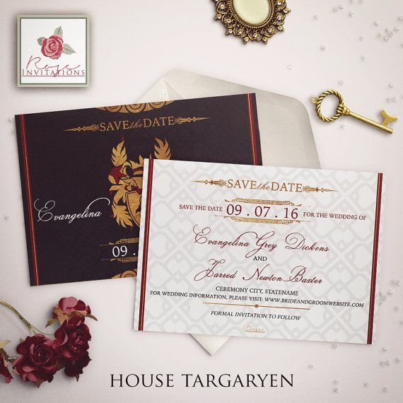 House Targaryen  Save the Date Card  Game of by RoseInvitations
