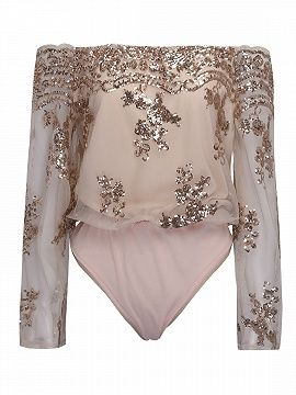 Shop Pink Off Shoulder Sequins Embroidery Sheer Flared Sleeve Bodysuit from choies.com .Free shipping Worldwide.$22.9