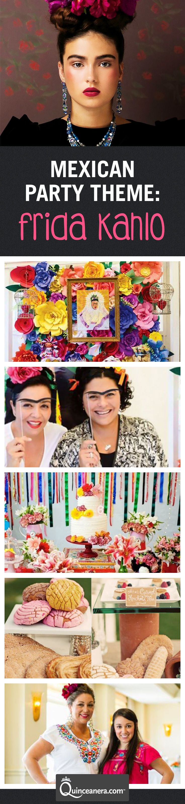 Are you a fan of the popular Mexican painter? Paint your Quinceanera with cheerful Mexican colors and decorate your fiesta inspired by Frida Kahlo's artistic ways.