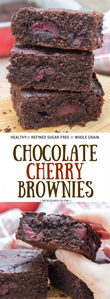 Dark Chocolate Cherry Brownies are destined to delight you. These brownies are made with all HEALTHY ingredients, whole grain and refined sugar-free. #healthy #wholegrain #sugarfree #chocolate #cherry #lowcalorie #dairyfree #healthyrecipes #healthylife #weightloss | NATALIESHEALTH.com