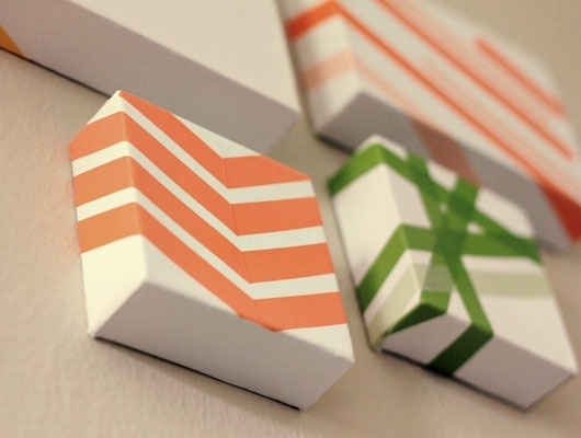 washi tape art - this would be a cute way to re-use plain white Christmas shirt boxes for gift wrapping, too. diy-upcycle