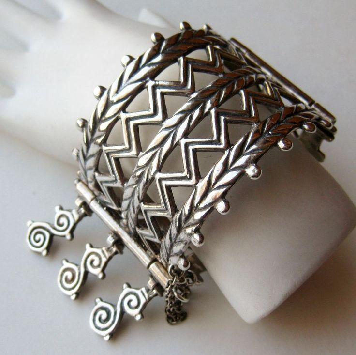 Vtg Kalevala Koru Modernist Finland Merya Sterling Silver Hinged Bangle Bracelet #KalevalaKoru