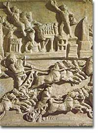 This relief sculpture from the 2nd century C.E. illustrates what a chariot race in the Circus Maximus might have looked like. The competitors completed seven intense laps in front of a crowd of 300,000.