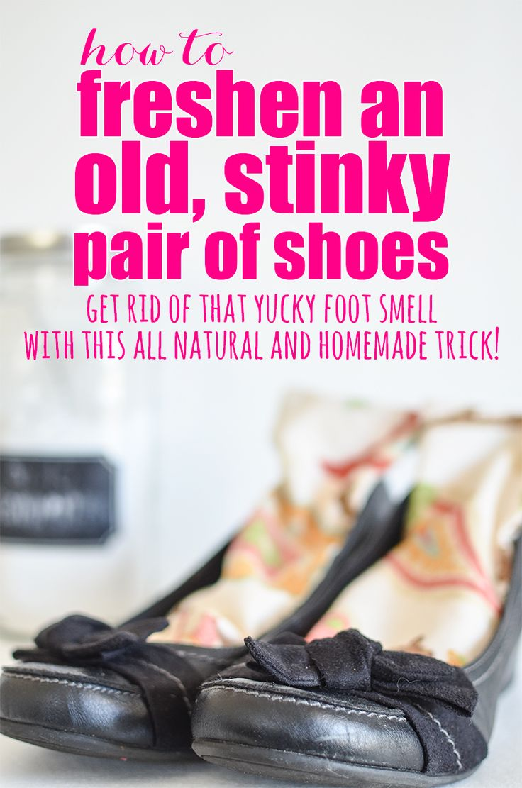 Sometimes, shoes just get smelly.  Here is a great, all natural way to freshen a stinky pair of shoes!  Get rid of that yucky foot smell with this all natural and homemade trick!