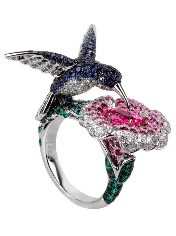 Boucheron Hibiscus ring in white gold set with pink and blue sapphires, diamonds and emeralds