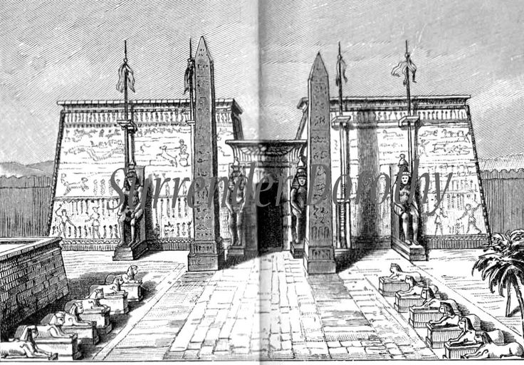 Ancient Egyptian Architecture | Ancient Egyptian Architecture Vintage1906 Edwardian Steel Engraving To ...