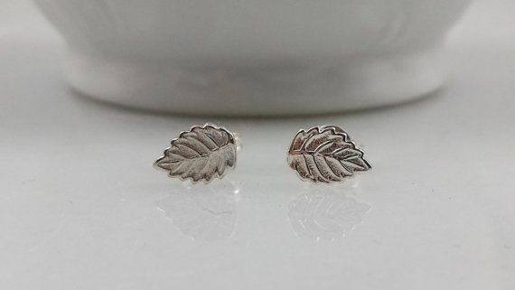 Sterling Silver Leaf Earrings  Tiny Silver by ArbotiqueDesigns