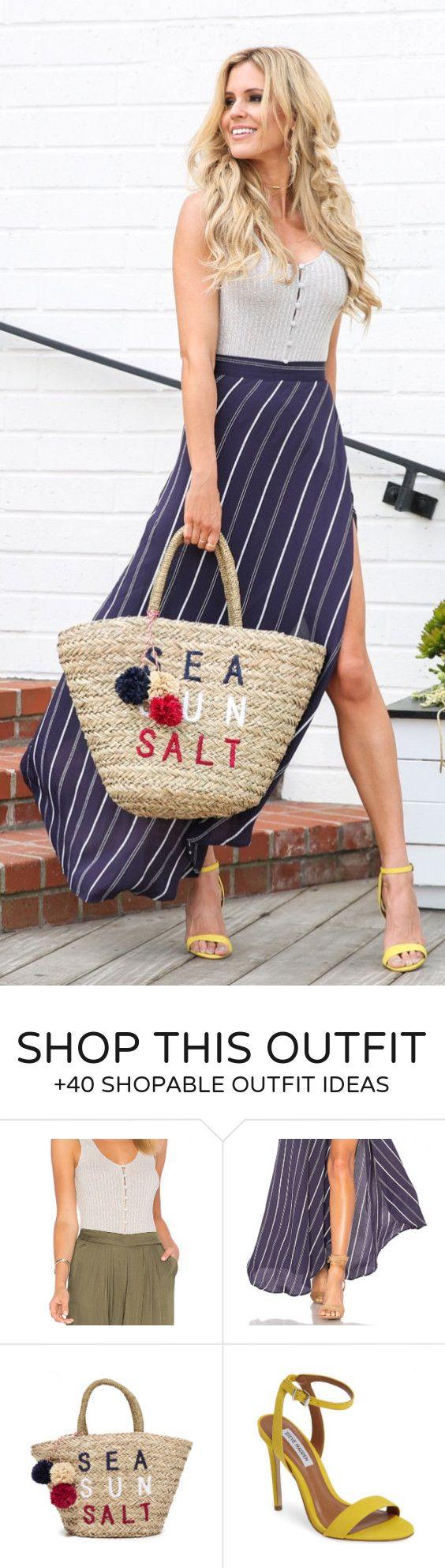 #outfits #summer superior gris + rayado púrpura de la falda maxi + sandalias amarillas