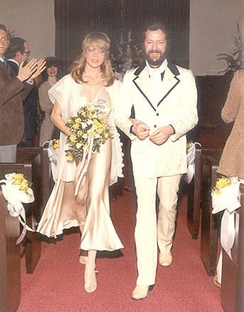 English musician, singer, songwriter, and guitarist Eric Clapton and English model, Pattie Boyd were married 1979-1989.  She was previously married to Beatles George Harrison 1966-1977.