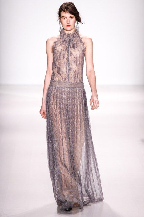 Tadashi Shoji AW2014 at NYFW - transparencies on evening gown