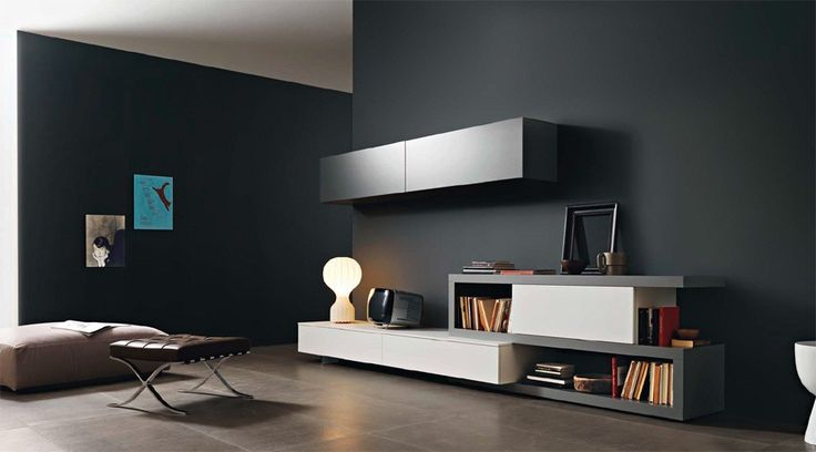 Disegno Wall Unit III by Sangiacomo, Italy in matt ferro and bianco lacquer. Manufactured By San Giacomo.