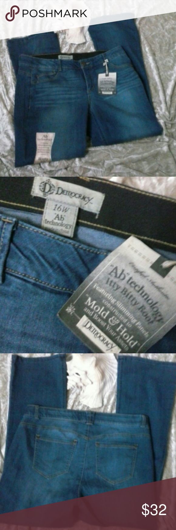 """NEW DEMOCRACY Slimming Mold & Hold Jeans 16W NEW with tags, Democracy AB Technology"""" Itty Bitty Boot"""" featuring slimming panels constructed to """"Mold & Hold"""" and """"boost your assets"""" 5 pocket Jeans Measures 19"""" across top, rise approx 9"""", Inseam 31"""". Feel free to ask questions. Thanks for stopping by! Democracy Jeans"""