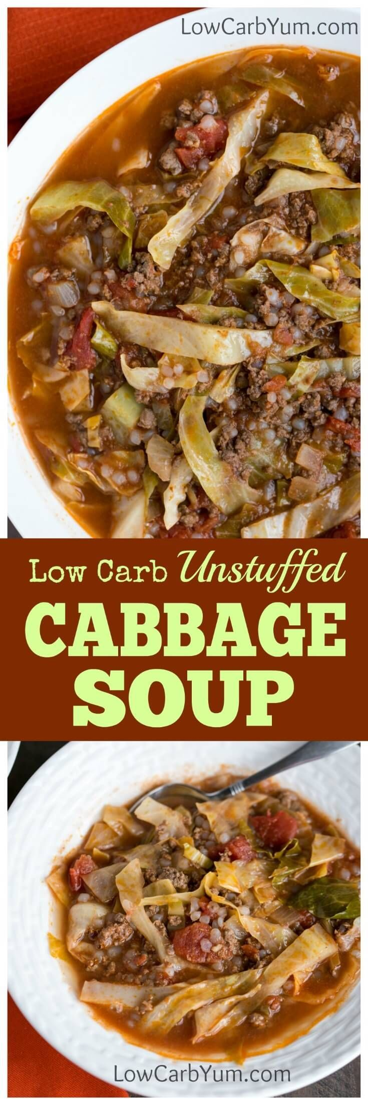 Are you a cabbage roll fan but hate all the work involved to make them? If so, you need to try this easy unstuffed cabbage soup recipe.   LowCarbYum.com