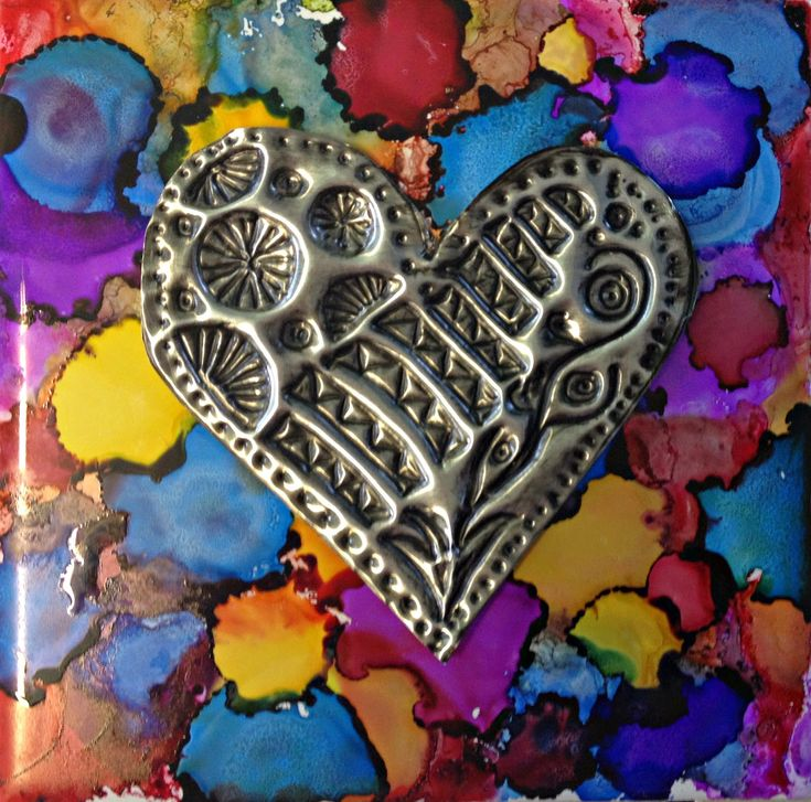 Alcohol Ink Tiles with Metal Embossing We combined alcohol ink tiles and metal embossing for a twist on Jim Dine Heart piec...