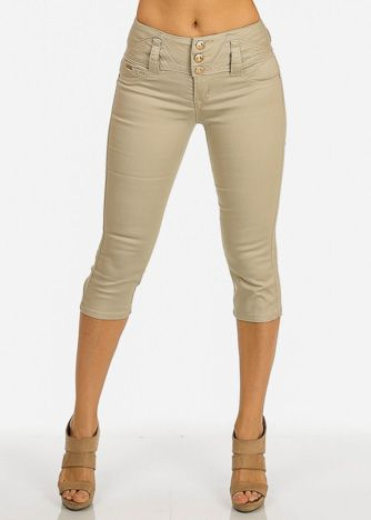 Khaki Twill Women's Juniors Shorts Capris