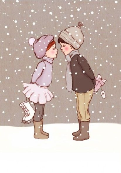 """""""Winter Kiss"""" by Belle & Boo Illustrations. Buy: http://belleandboo.com/product.php?id_product=704 View more: http://belleandboo.com/category.php?n=100&id_category=162"""