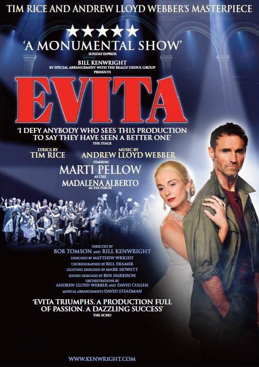 EVITA UK Tour 2013 starring Madalena Alberto as Eva Peron and Marti Pellow as Che. Opening 15th May 2013 at London's New Wimbledon Theatre. http://www.madalenaalberto.com