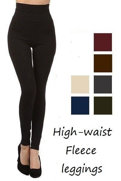 3e462bd7b73 Black High Waist Fleece Leggings Shapewear Opaque Thick Warmer Tummy Control   7.95 End Date  2019