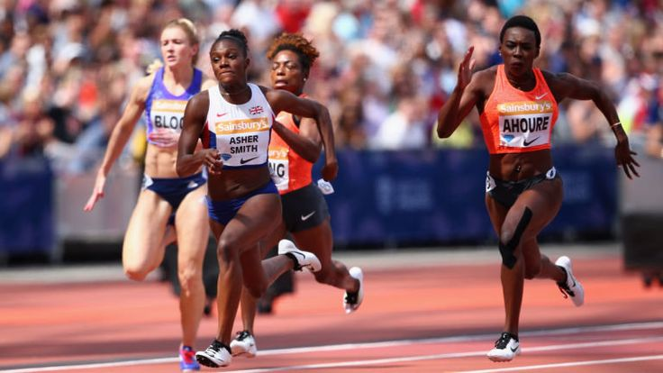 Dina Asher-Smith (second left) broke her own British 100m record at the Anniversary Games in London in July 2015