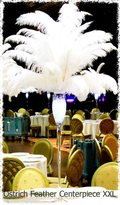 Very Tall Ostrich featehr centerpiece with Led light