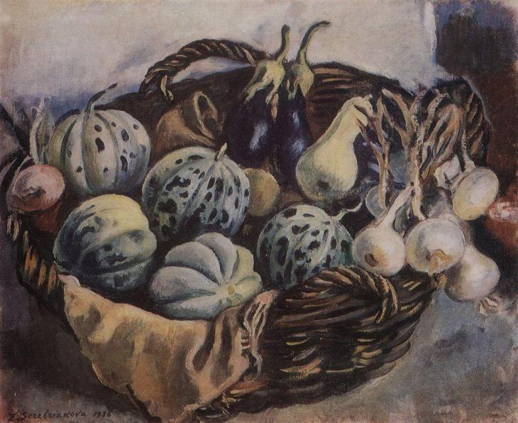 Zinaida Serebriakova - Still life basket with melons and squash (1938)