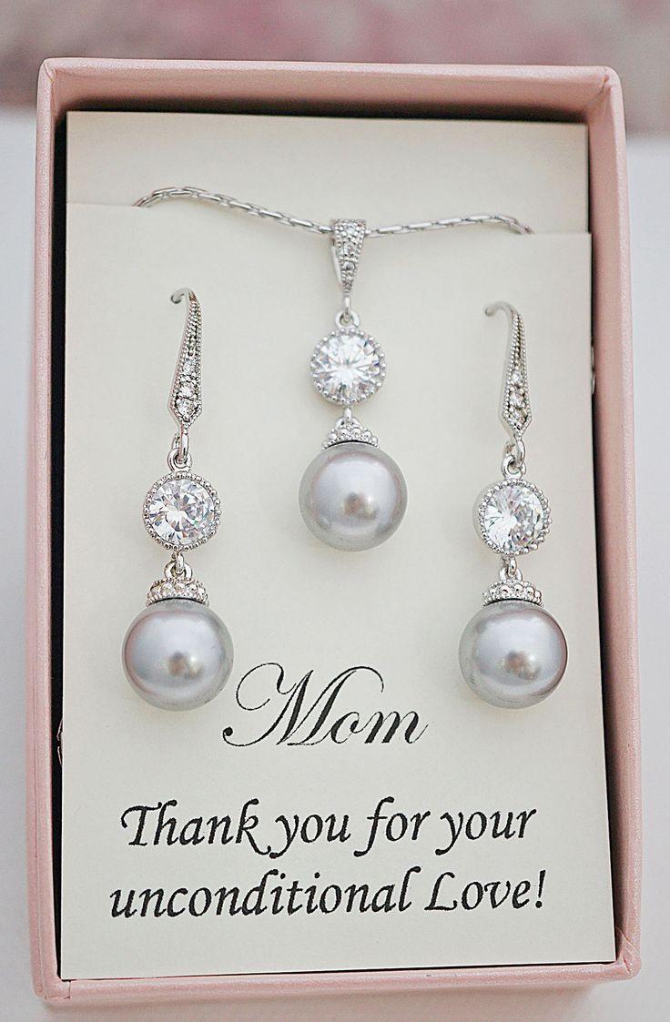 Light gray Swarovski pearl jewelry set from EarringsNation mother of the bride gift light grey weddings gray weddings