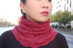 A delicate lace smoke ring to protect yourself from wind, knitted with less than a skein of Malabrigo lace.